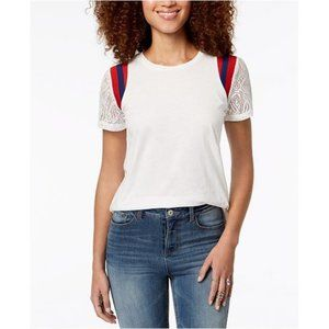 Rebellious One Lace-Sleeve Striped-Shoulder Top XL